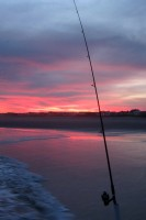 Fishing rod at sunset