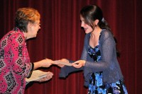 Gabriella receiving her Honor Society certificate