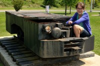 Gabriella on an old coal mining train engine