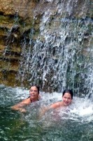 Mama & Gabriella swimming under Trehman's Falls